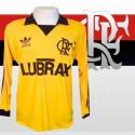 Camisa retrô Flamengo goleiro lubrax amarela  ML década 80