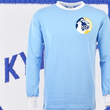 6f692f600ec8d Camisa retrô de Chypre azul ML- - Loja Camisas de Futebol Retrô