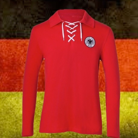 cbb3a7db86be1 Camisa retrô goleiro Alemanha vermelha -1954