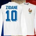 Camisa  retrô França Zidane branca ML.