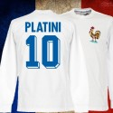 Camisa  retrô França Platini branca  ML .