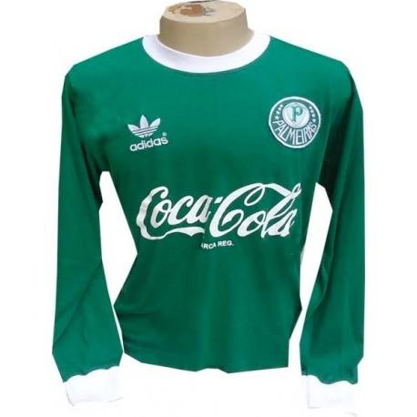 Camisa retro Palmeiras logo  manga longa gola em v decada de 80