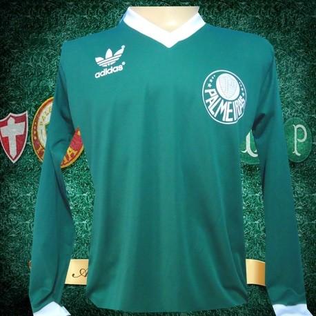 Camisa retro Palmeiras logo manga longa gola em v decada de 80 5cf4ad625535d