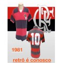 Camisa retrô Flamengo listrada 1981
