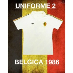Camisa retrô Belgica branca logo-1980