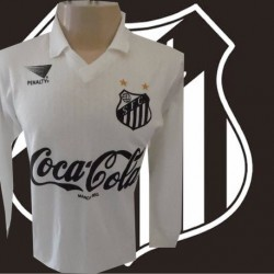 Camisa retró Santos Branca bi campeão manga longa